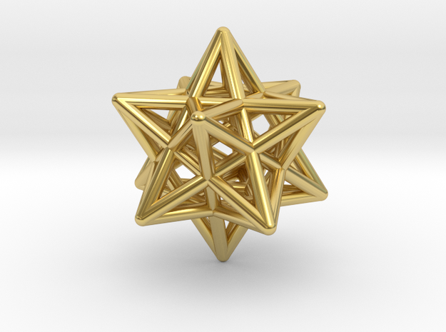 Small Stellated Dodecahedron Pendant in Polished Brass