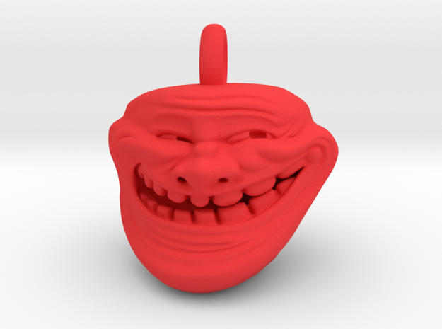 Trollface Meme Pendant necklace all materials in Red Processed Versatile Plastic