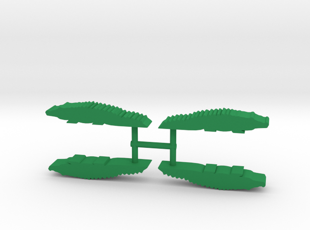 Crocodile Meeple, 4-set in Green Processed Versatile Plastic