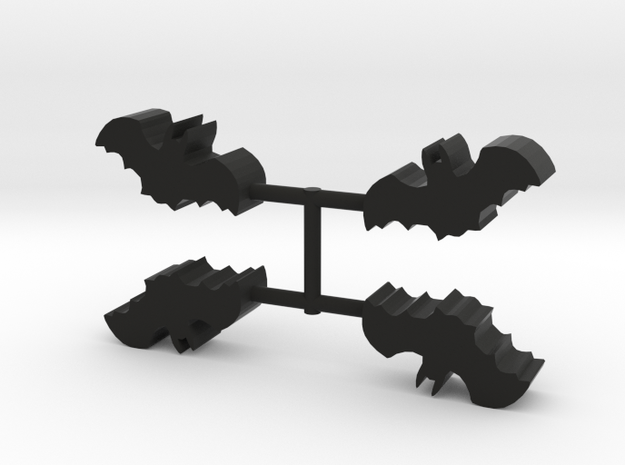 Bat Meeple, 4-set in Black Natural Versatile Plastic