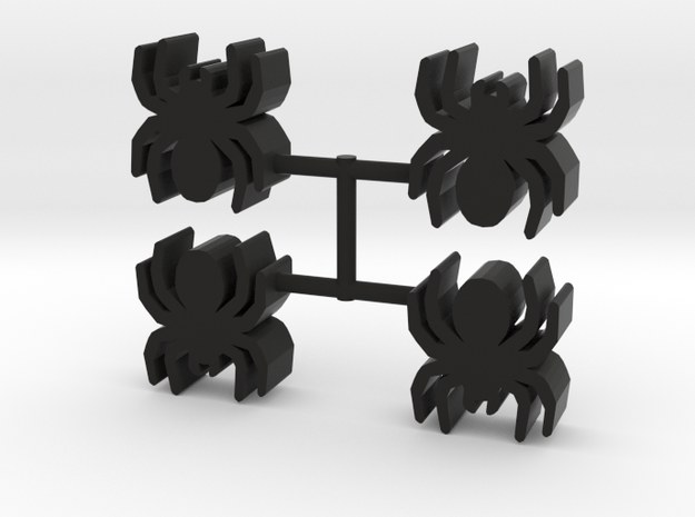 Spider Meeple, 4-set in Black Natural Versatile Plastic
