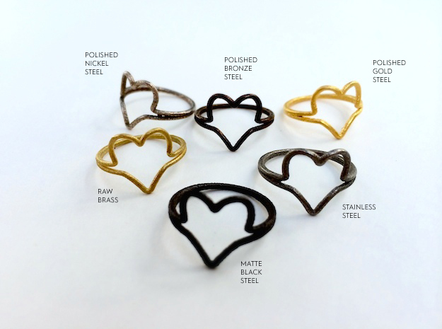 Wire Heart Ring (Size 7) in Polished Bronzed Silver Steel