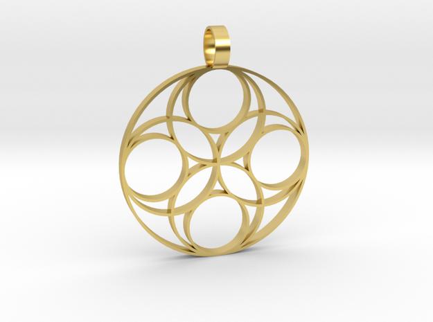 Eternal  Flower Earth pendant 3-2 in Polished Brass
