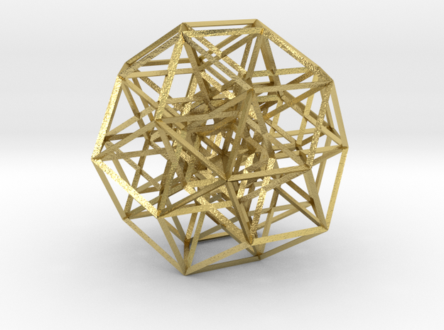 6-cube projected into 3D, triangular struts in Natural Brass