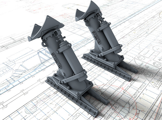 1/144 Royal Navy MKII Depth Charge Throwers x2 in Smoothest Fine Detail Plastic