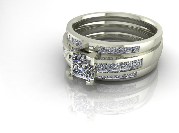 Princess cut channel ring  in Fine Detail Polished Silver