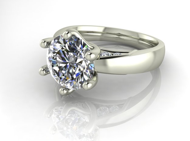Crossover collet solitaire NO STONES SUPPLIED in Fine Detail Polished Silver