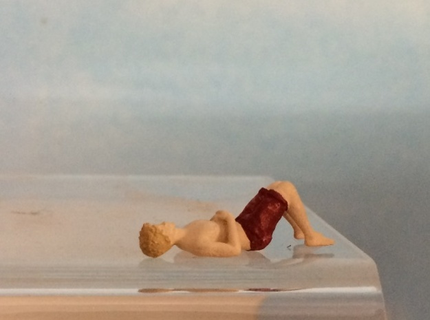 Male Swimsuit Lying on Back in Smoothest Fine Detail Plastic: 1:64 - S