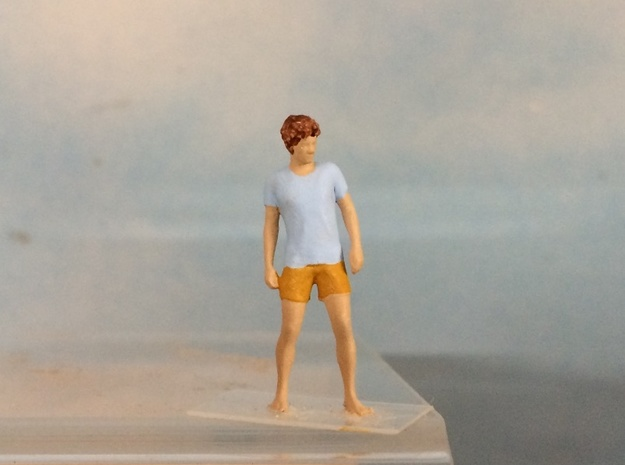 Male Standing Barefoot in Smoothest Fine Detail Plastic: 1:64 - S