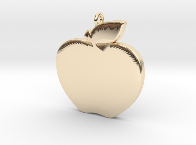 Apple-Pendant-Stl-3D-Printed-Model in 14K Yellow Gold: Medium