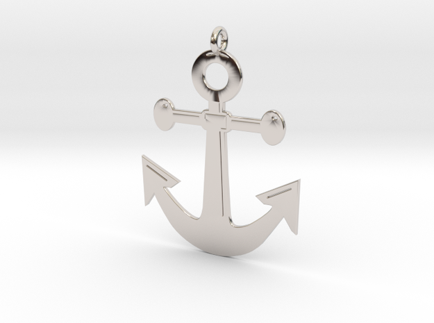 Anchor Pendant 3D Printed Model in Rhodium Plated Brass: Medium