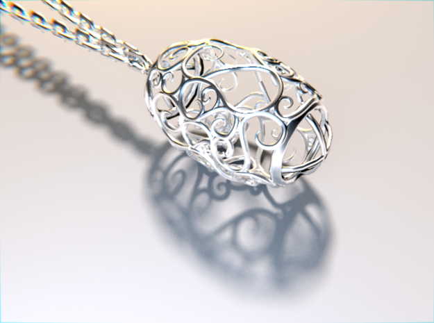 Small sized Secessic Love Pendant 3d printed