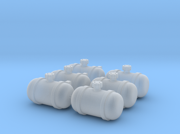 Set of 6 - Gasser Fuel Tanks  in Smooth Fine Detail Plastic
