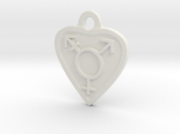 Transgender Heart in White Natural Versatile Plastic