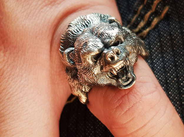 Gizzy Bear | Black Bear | Brown Bear Ring in Antique Silver: 9 / 59