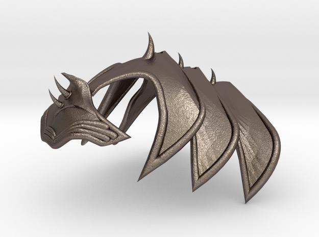 Cat Armor Helmet in Polished Bronzed-Silver Steel