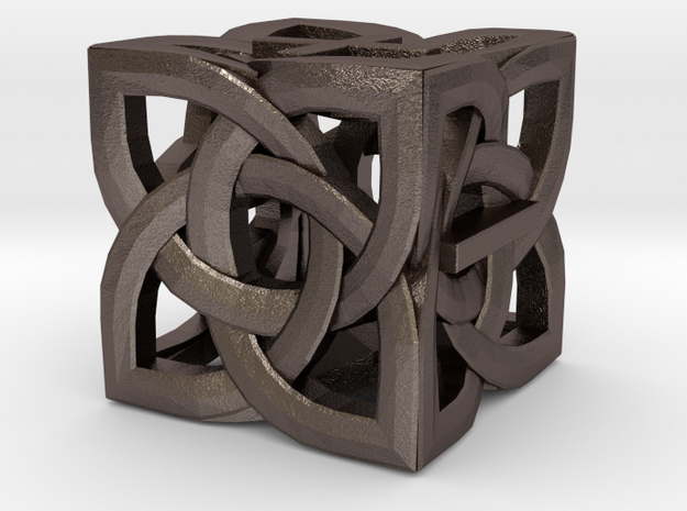 Celtic Fudge / Fate Dice dF in Polished Bronzed-Silver Steel