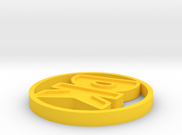 Initials Disk in Yellow Processed Versatile Plastic