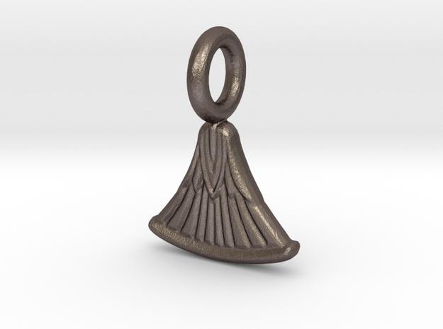 Small Papyrus charm in Polished Bronzed-Silver Steel