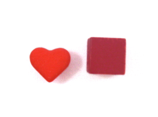 Heart Token, Miniature in Red Processed Versatile Plastic