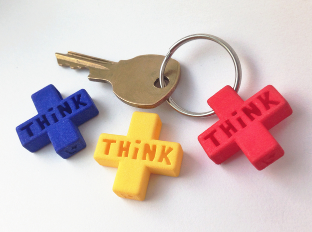"""Think Positive"" Keychain in Red Strong & Flexible Polished"