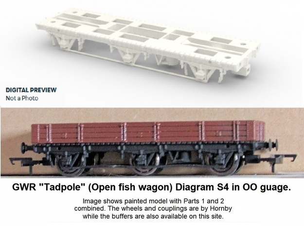 GWR Tadpole Diag. S4, Part 1 Chassis in White Processed Versatile Plastic