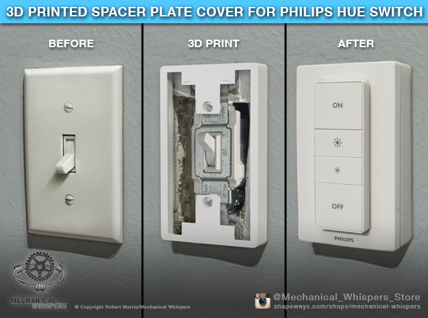 Philips Hue Dimmer Switch Spacer Plate (US Toggle) in White Natural Versatile Plastic