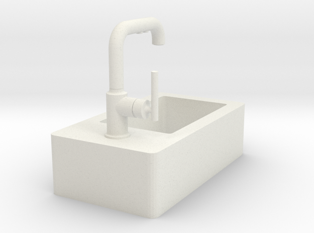 Tiny sink with faucet in White Natural Versatile Plastic