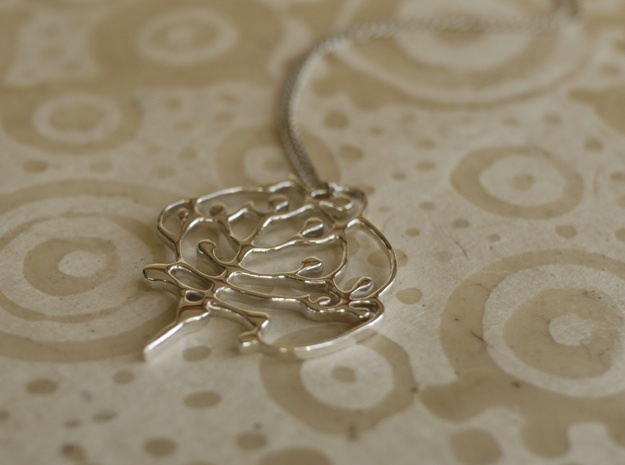 Neolithic 'Tree Of Life' Pendant in Fine Detail Polished Silver