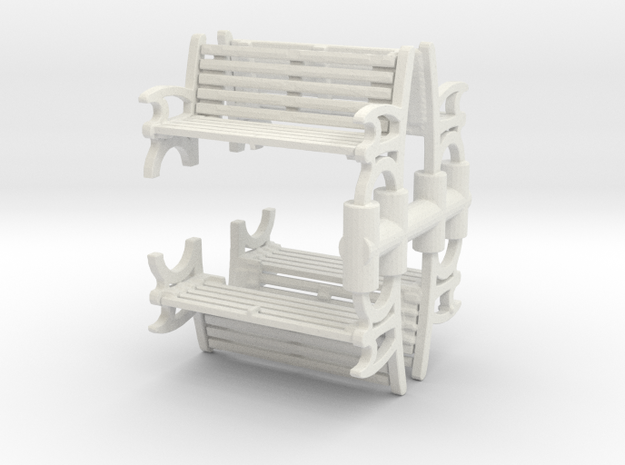 Bench (4 pieces) 1/100 in White Natural Versatile Plastic