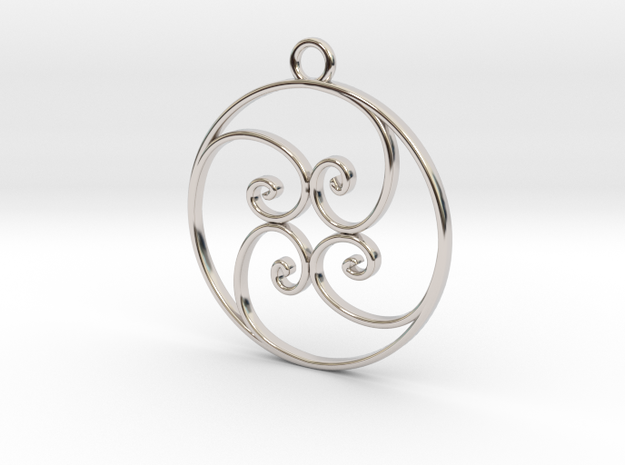 Golden Ratio Circle pendant -- mk1  in Rhodium Plated Brass