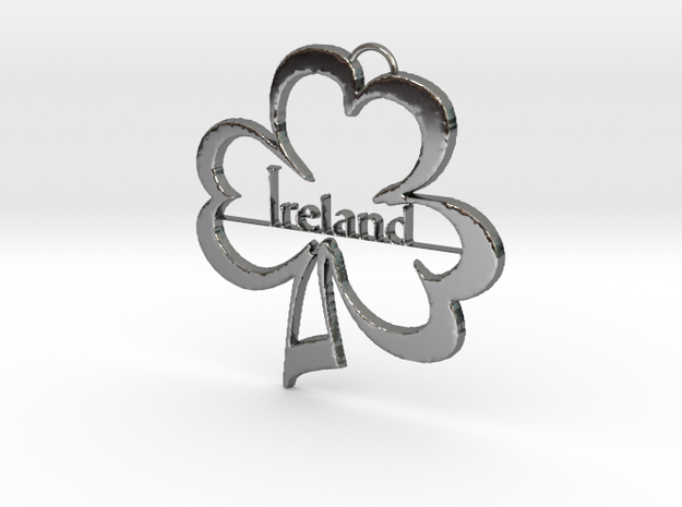 Ireland Clover Pendant in Fine Detail Polished Silver: Medium