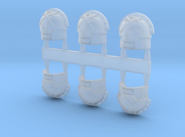 warbringers compound Shoulder Pads skulls variant in Smooth Fine Detail Plastic