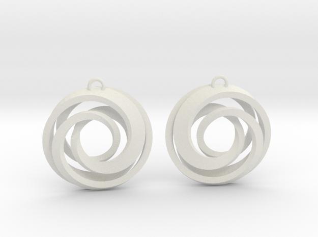 Geometrical earrings no.22 in White Natural Versatile Plastic