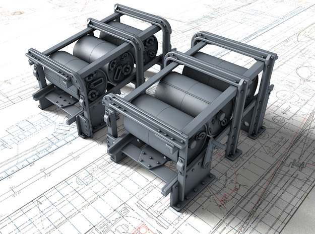 1/35 Royal Navy Small Depth Charge Racks x2 in Smooth Fine Detail Plastic