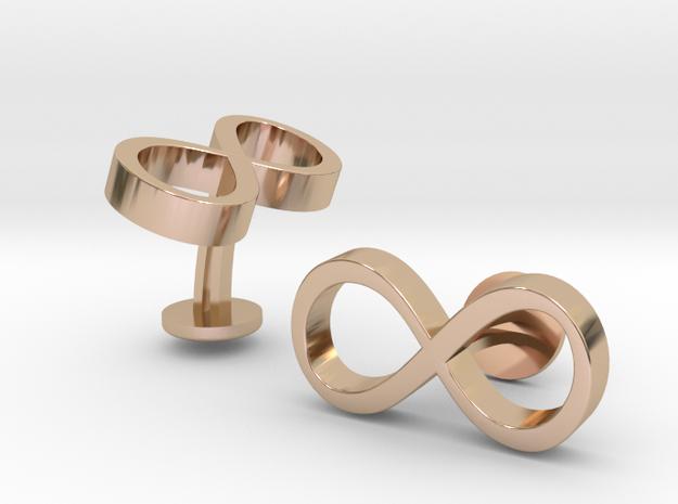 Infinity Wedding Cufflinks in 14k Rose Gold Plated Brass