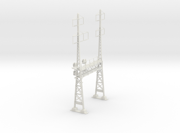 CATENARY PRR LATTICE SIG 2 TRACK 2-3PHASE N SCALE  in White Natural Versatile Plastic