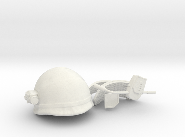 USCM helmet with fabric cover 1/10 scale in White Natural Versatile Plastic