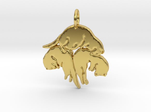 Triple ferret pendant in Polished Brass