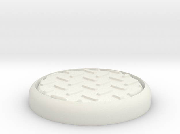 "Diamond 1"" Circular Miniature Base Plate in White Natural Versatile Plastic"