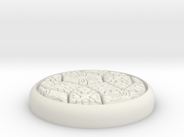 "Fancy 1"" Circular Miniature Base Plate in White Natural Versatile Plastic"