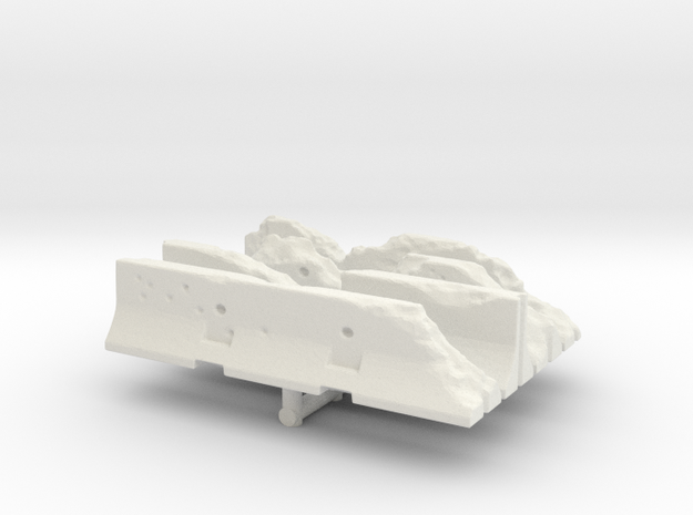 Damaged Jersey barrier (x4) 1/144 in White Natural Versatile Plastic