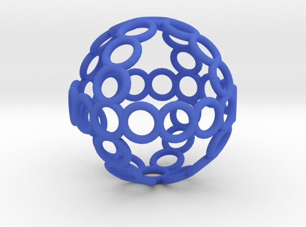 Charm: Sphere of Rings in Blue Processed Versatile Plastic