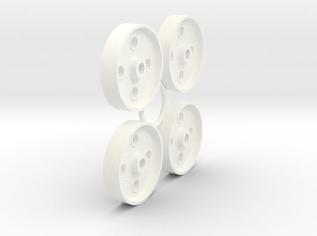 FR 4 Hole Wheel Centres (SM32) in White Processed Versatile Plastic