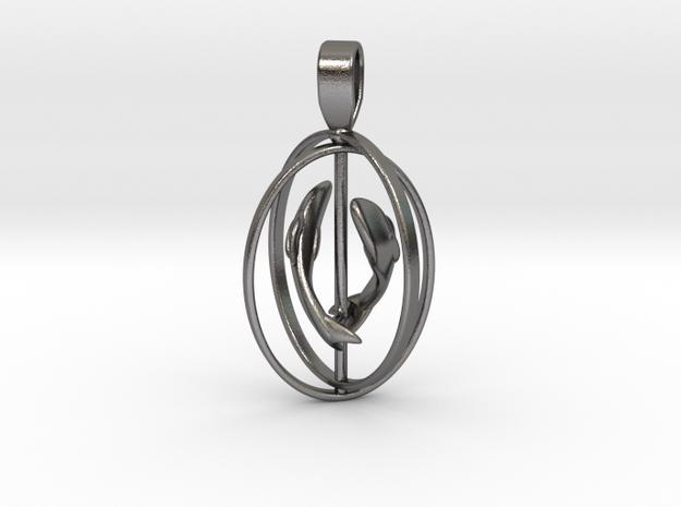 Pisces Birthsign pendant  in Polished Nickel Steel