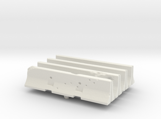 Jersey barrier (x4) 1/100 in White Natural Versatile Plastic