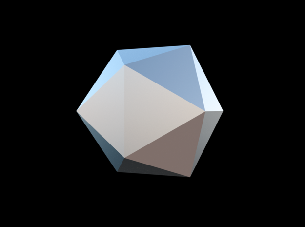 Icosahedron-Tri in Fine Detail Polished Silver