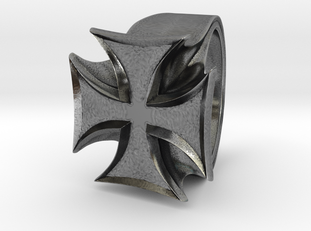 Iron Cross Ring in Antique Silver