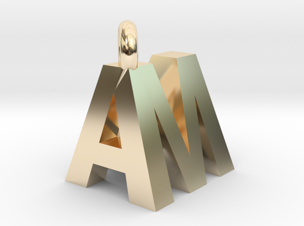 AM pendant top in 14k Gold Plated Brass