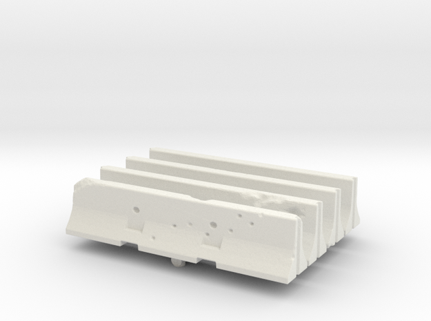 Jersey barrier (x4) 1/220 in White Natural Versatile Plastic